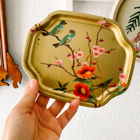 Vintage Asian Style Metal Tray